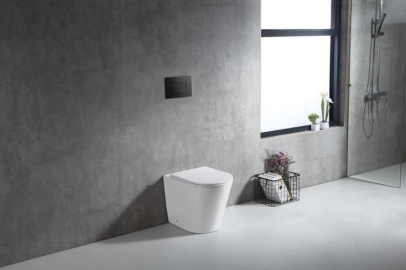 Zumi In Wall Faced Floor Pan with ABS Matt Black Flush Plate