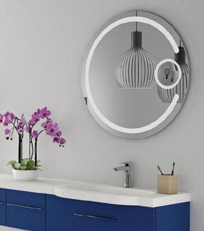 Backlit Round LED Mirror w Border& Magnifier 800mm