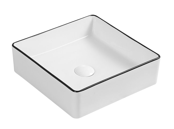 Macleod Gloss White with Black Edge Above Counter Basin