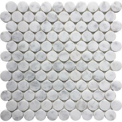 Honed Cararra Penny Mosaic Bianco 30mm 303X318MM