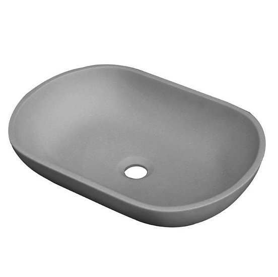 Solid Surface Basin in Matte Concrete