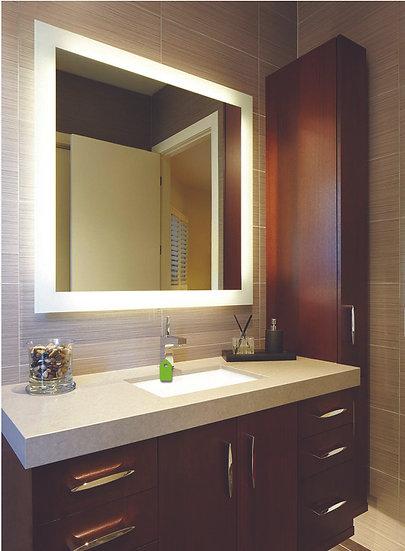 LED Mirror Backlit With Border (Demister Inc) 750x500mm Cool Light