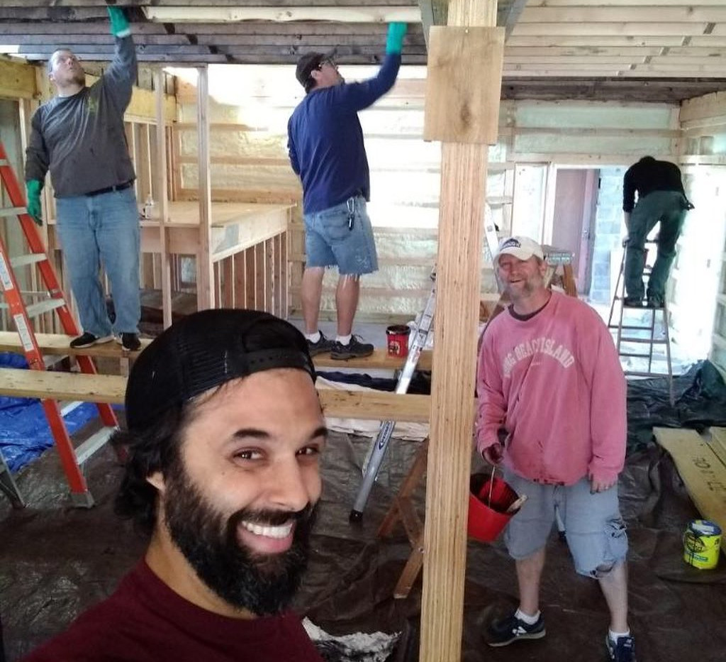 Staining party to get the tasting room OPEN