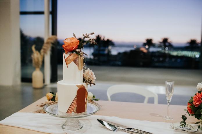 wedding cake at sunset