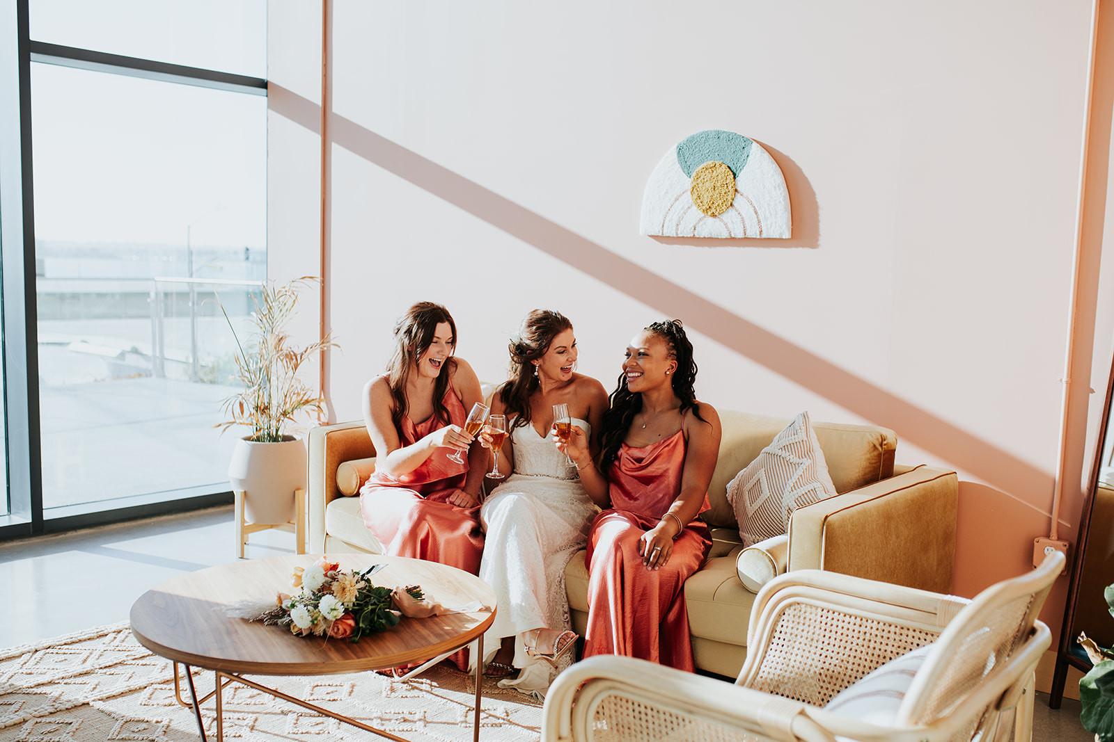 bridesmaids in bridal suite