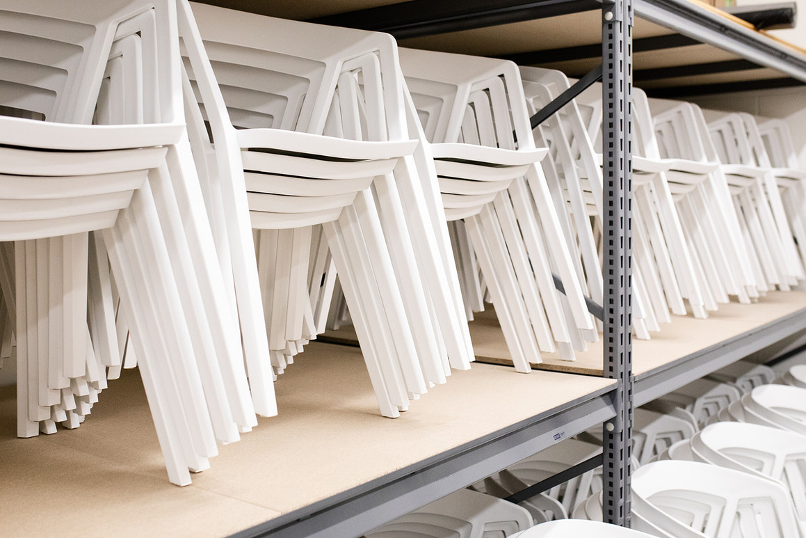 300 White Rounded-back Chairs