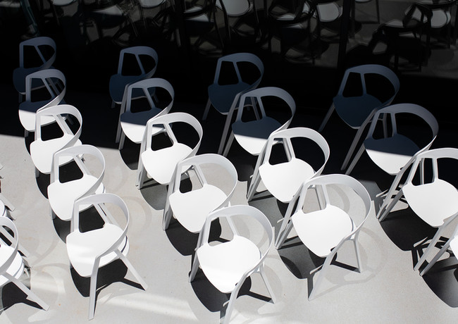 The Lane white compas chairs
