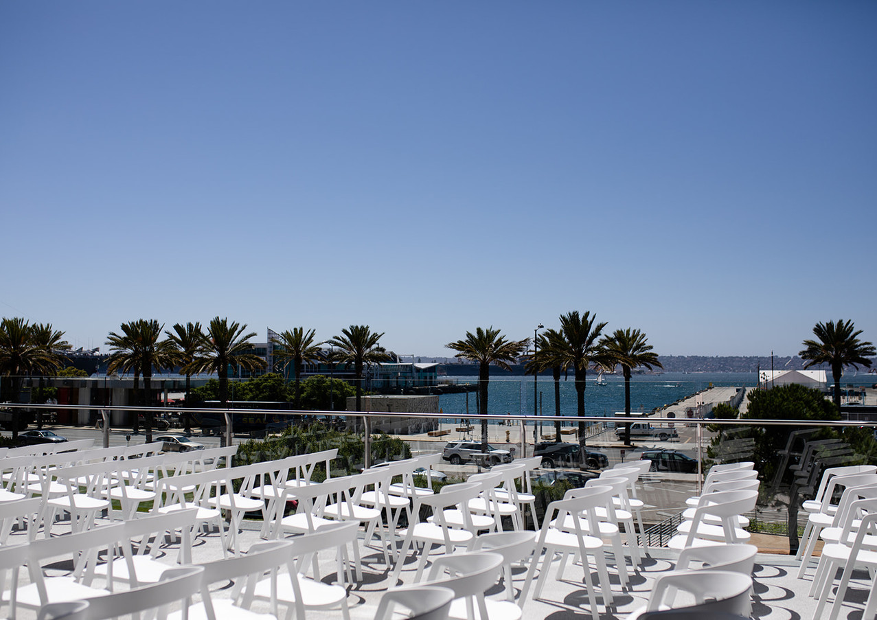 Ceremony seating on terrace with the Har