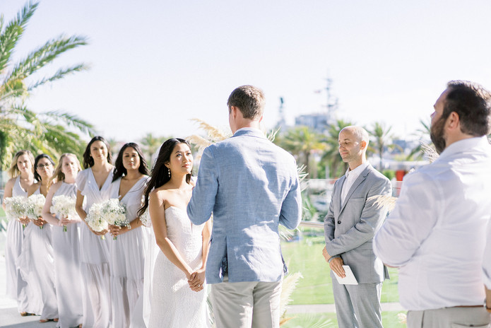 Outdoor ceremony with wedding party