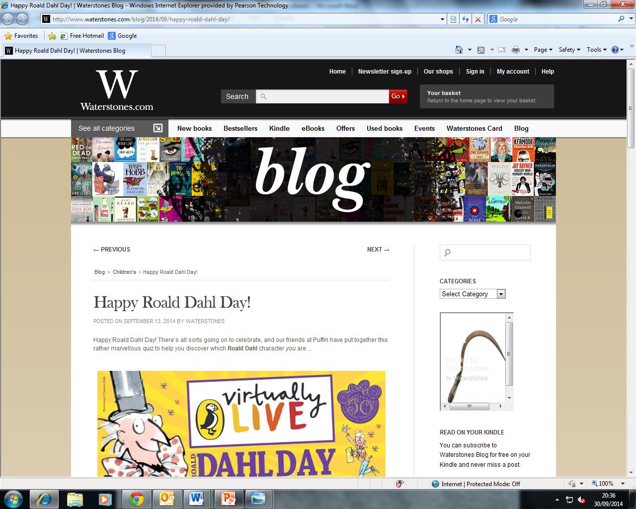 Roald Dahl Day Waterstones blog post