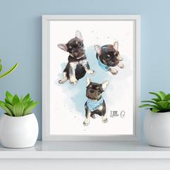 Digital watercolour style pet portrait.