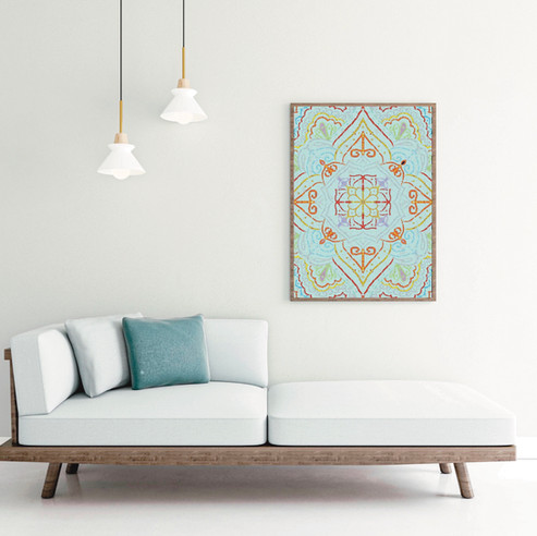 Light blue mandala print