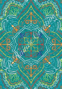 Turquoise mandala print