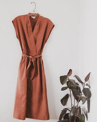 Copper Faux Wrap Dress