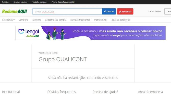 Grupo QUALICONT tem ZERO reclamações no site Reclame Aqui
