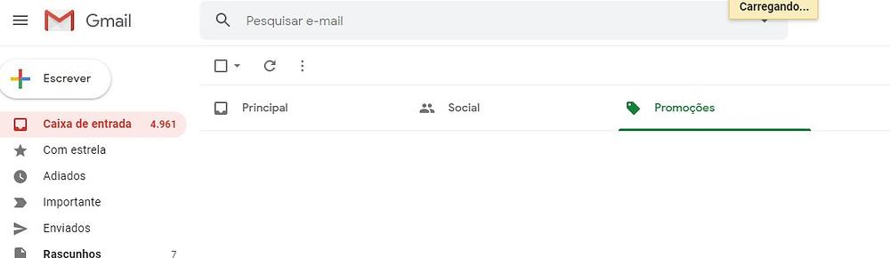 Exemplo das abas Promoções e Social - Gmail