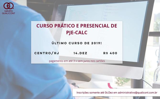 Dia 14 de Dezembro o Grupo QUALICONT realizará último curso de PJeCalc em 2019