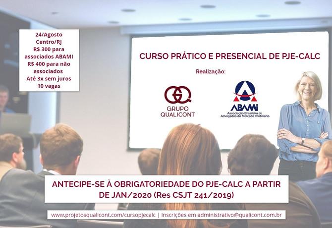Curso presencial de PJe-Calc para associados ABAMI será dia 24 de Agosto