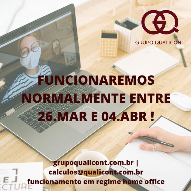 Funcionamento do Grupo QUALICONT - Antecipação de feriados no RJ e em SP