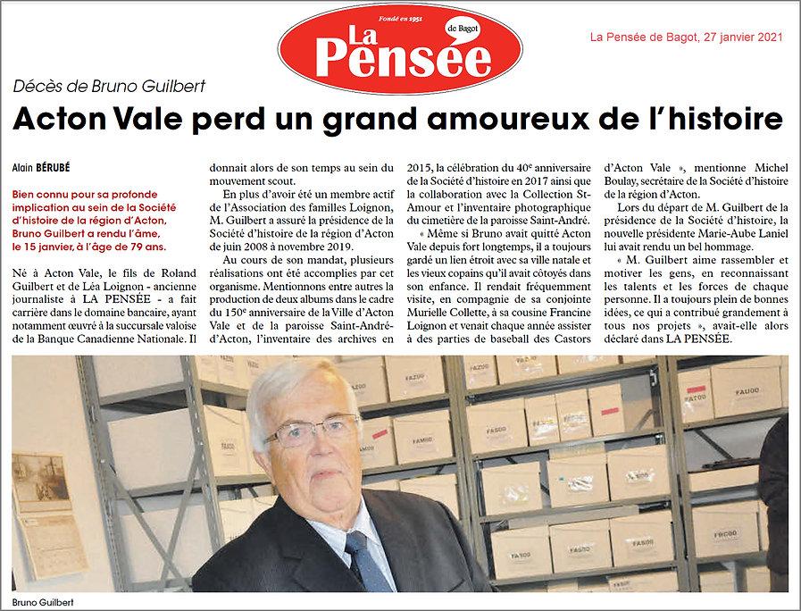 02 Bruno Guilbert décès article La Pensé