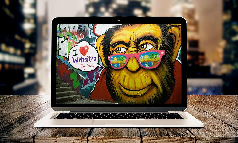 Computer With Monkey And Graffiti