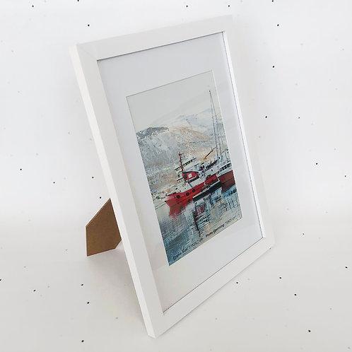A4 מסגרת עץ לבנה