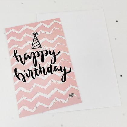 כרטיס ברכה יום הולדת ורוד