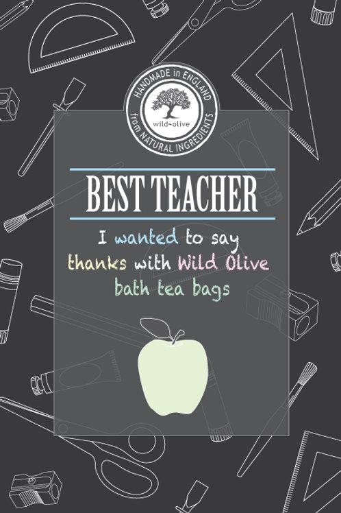Best Teacher Tea Bag Card