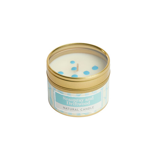 Seaspray and Driftwood Small Tin Candle