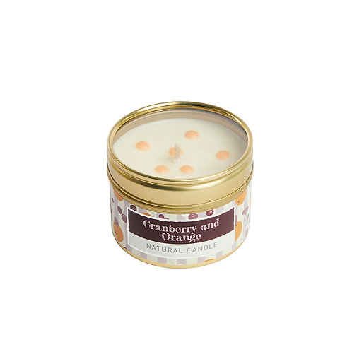 Cranberry and Orange Small Tin Candle