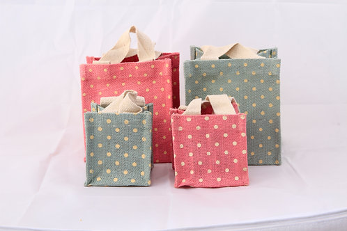 Pink Small Mix Jute Bag