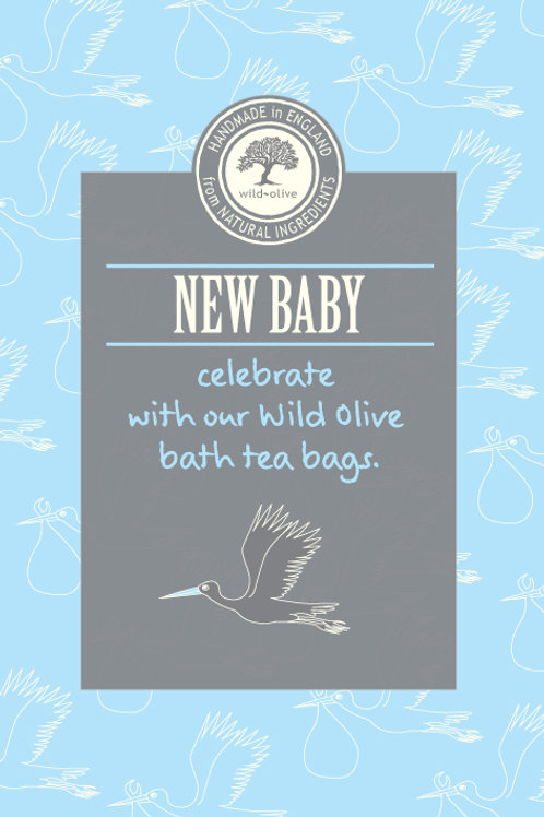New Baby Blue Tea Bag Card