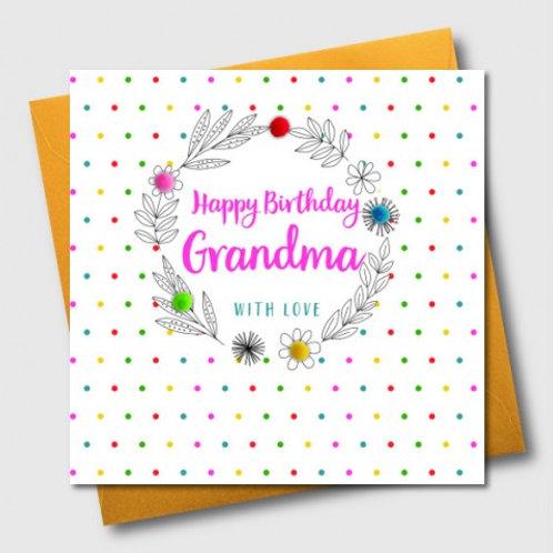 POM POM HAPPY BIRTHDAY GRANDMA, WITH LOVE