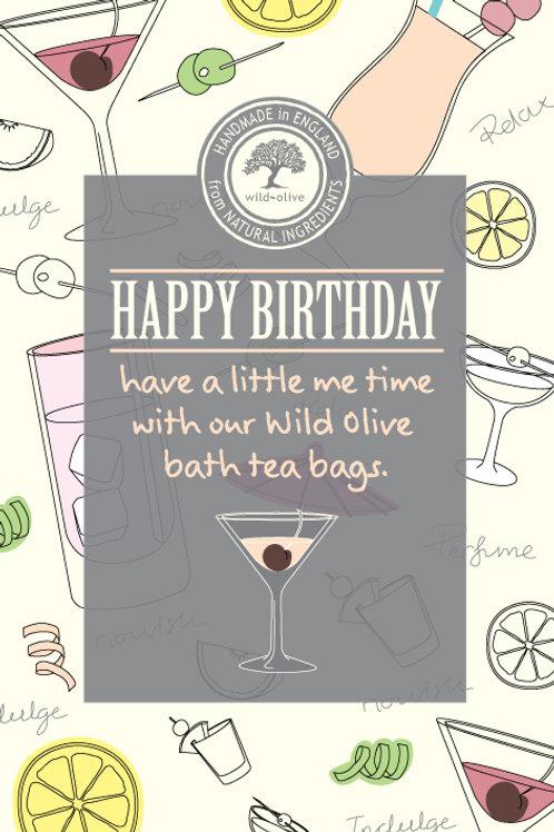 Happy Birthday Cocktail Tea Bag Card