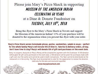Mary's Pizza Shack is Supporting MAI