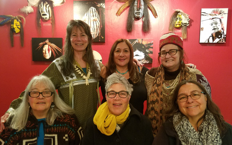 Becky Olvera Schultz (center, back) with Unole Women's Drum Group