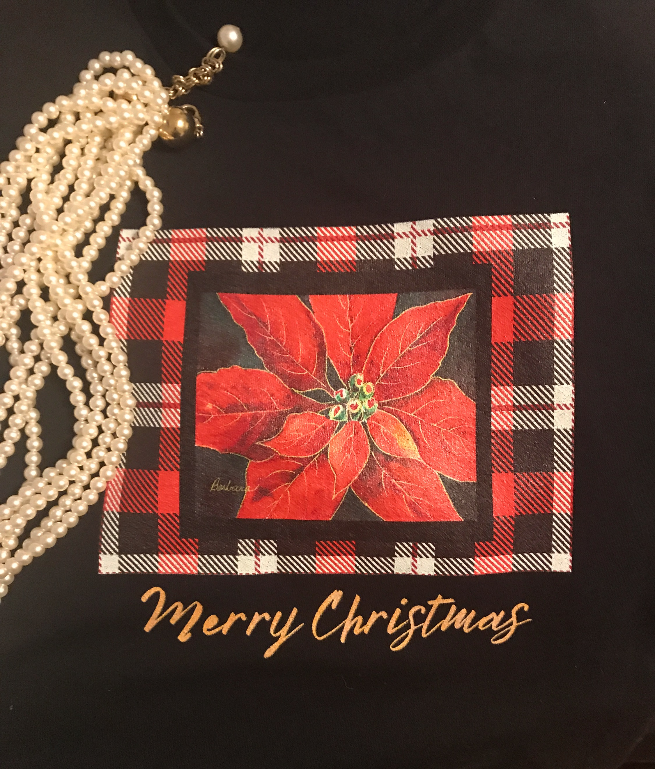 Christmas plaid poinsettia shirt cropped