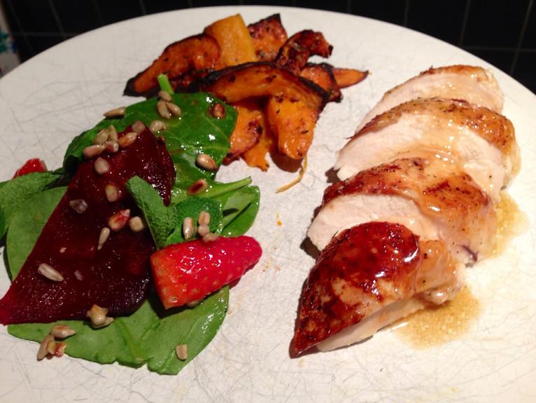 Honey chicken with beetroot salad