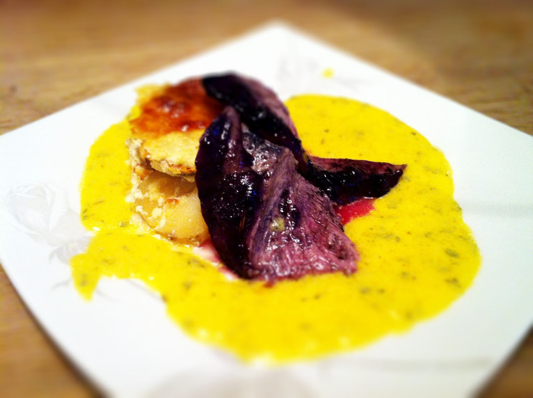 Blueberry lamb and Béarnaise sauce