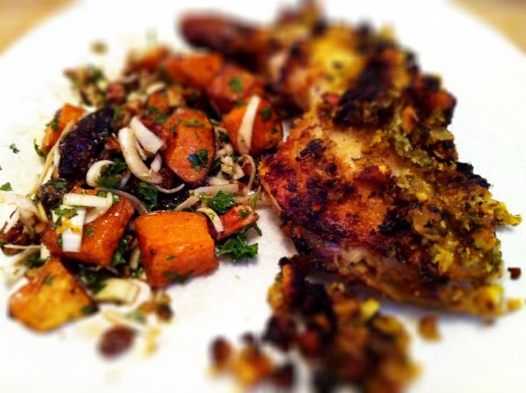 Coconut chicken and sweet potato salad