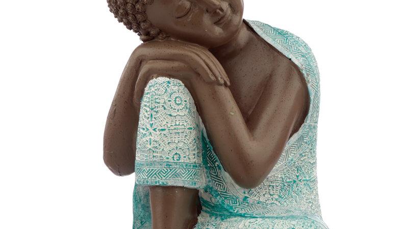 Budhha Figur 3 Türkis / Braun