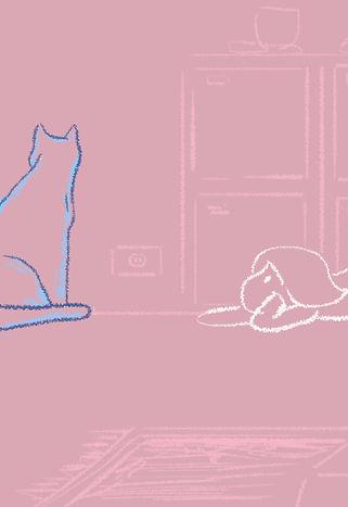 A handrawn girl beside a handrawn blue cat.
