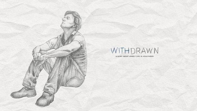 """Handrawn man, he's sitting somewhere and looks lost in his thoughts. Near him is written """"Withdrawn"""""""