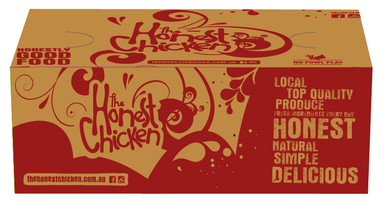 The Honest Chicken - Med Chips Box Packaging