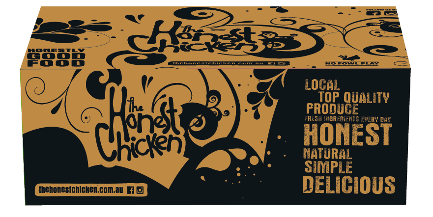 The Honest Chicken - Lrg Chips Box Packaging
