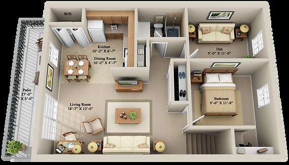 x1 BEDROOM SECOND FLOOR WITH JUNIOR DEN.