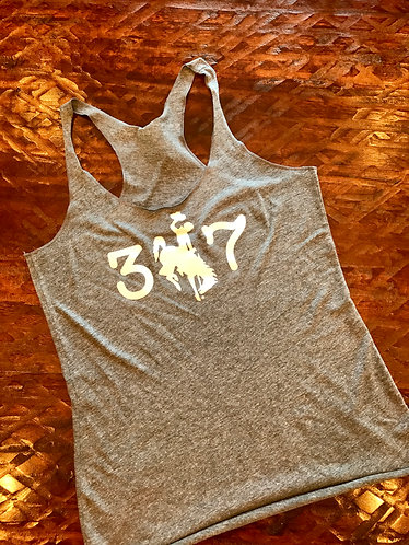 307 Tank Top (Heather Grey and White Glitter)
