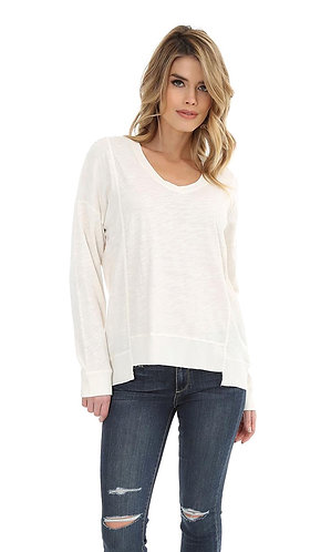 Bobi Bone Step Hem V-Neck