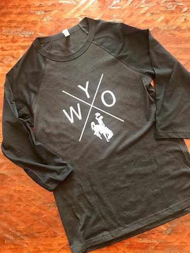 X WYO Baseball T-Shirt (Charcoal and White)