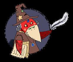"""Красная ворона в шляпе, с белым пером, с текстами под мышкой, ворона-писатель, раздел журнала """"Юнкор"""", иллюстрация детского журнала, ворона-писатель, ворона внутри серого круга, курсы юных корреспондентов, обучение детей журналистики, занятия журналистикой"""